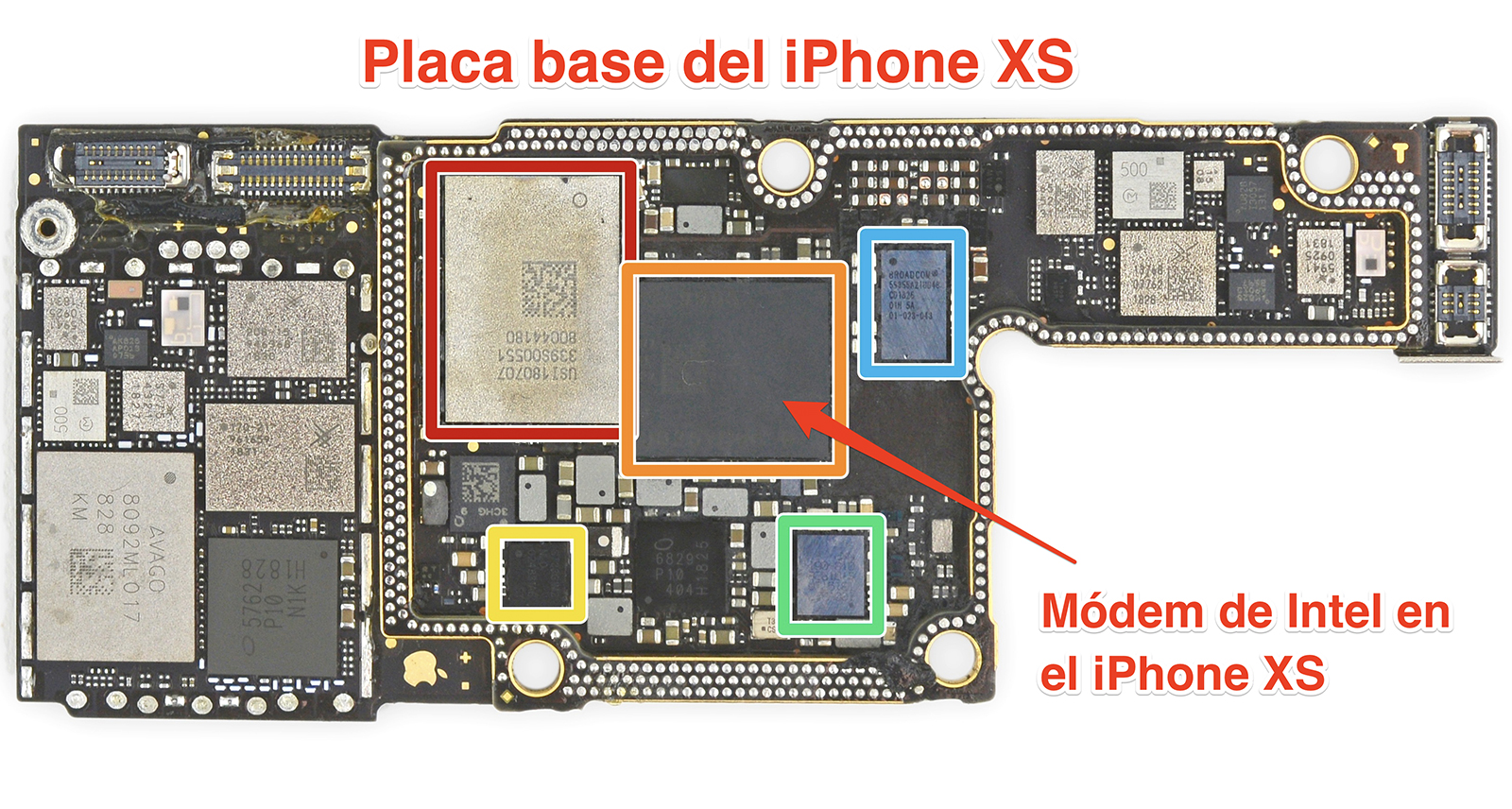 Placa base del iPhone XS con el módem de Intel indicado.